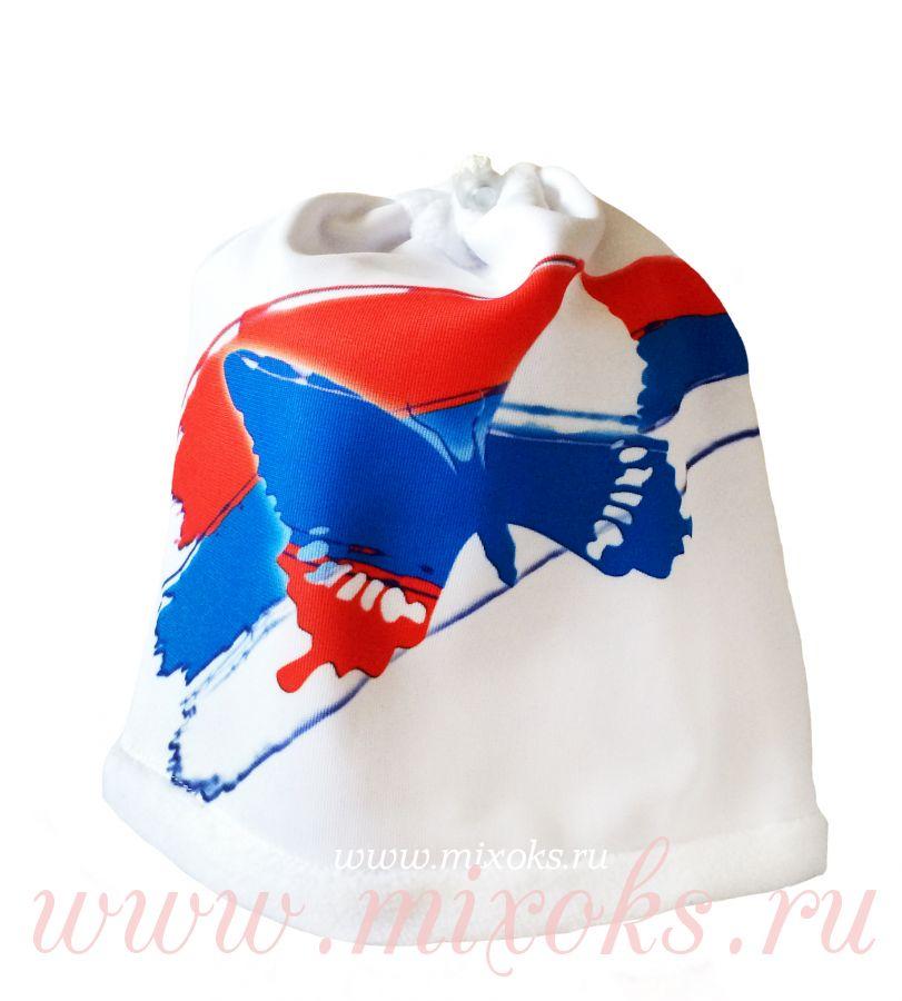 "Шапка-шарф ""Бабочка триколор"" белая"